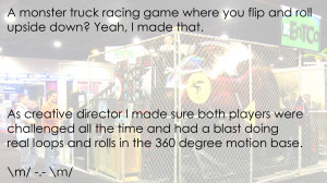 Monster Roll Cage (MRC) interactive motion-based monster truck race attraction.